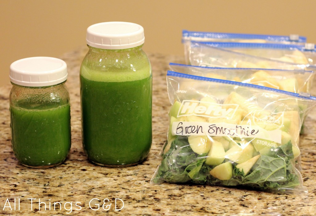 Bulk prepping green smoothies - several batches in freezer bags, and one batch in jars that will go in the fridge and be enjoyed in the next day or two!