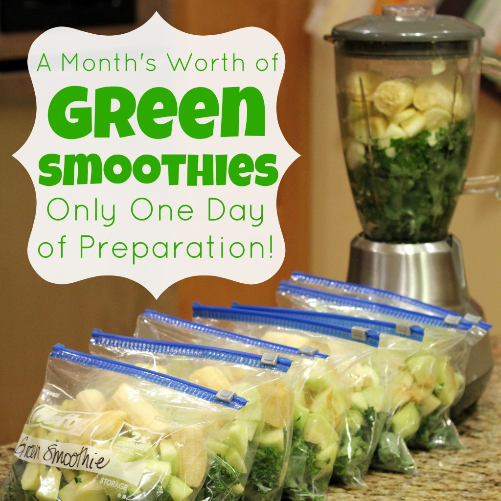 A Month's Worth of Green Smoothies - Only One Day of Prep!