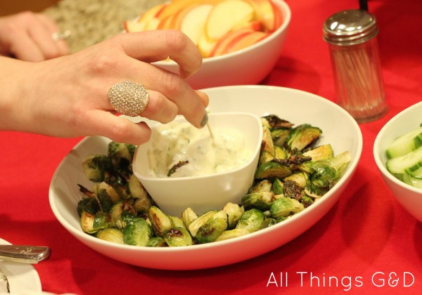 Roasted Brussels Sprouts with a Garlic Aioli Dip