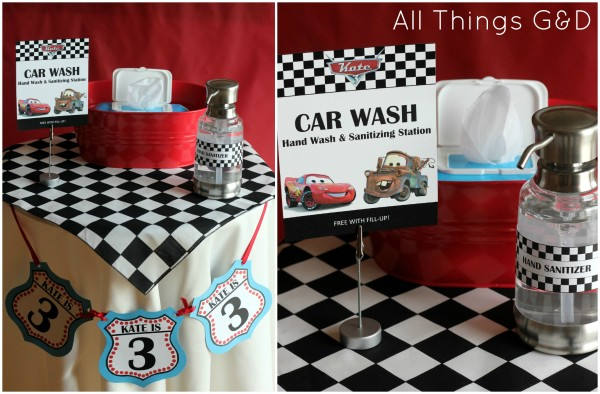 Cars Party, Car Wash, Hand Wash and Sanitizing station, party planning