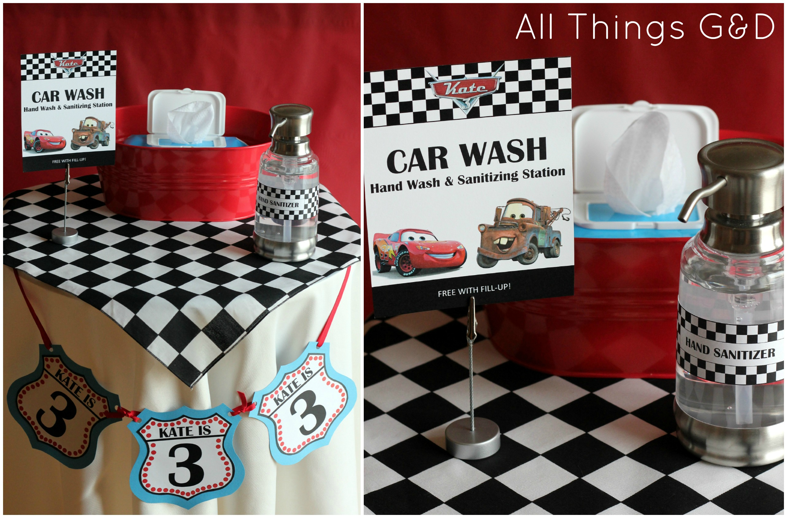 Cars Party Car Wash Hand And Sanitizing Station Planning