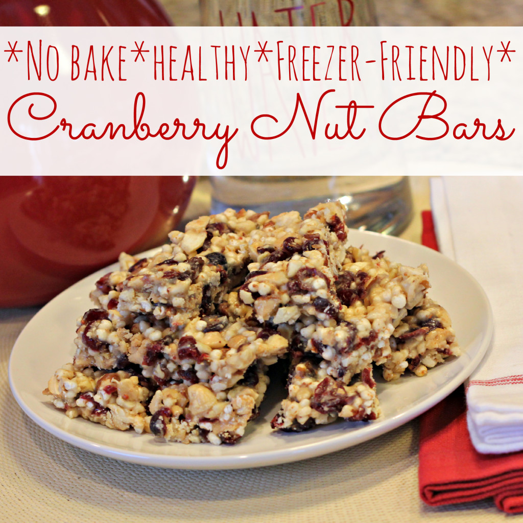 No bake, healthy, freezer-friendly, Cranberry Nut Bars (homemade KIND Bar)