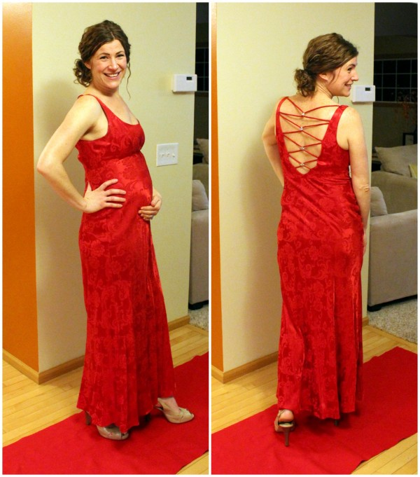 My (pregnant) friend Jill.  This was actually a dress she wore to her high school prom!