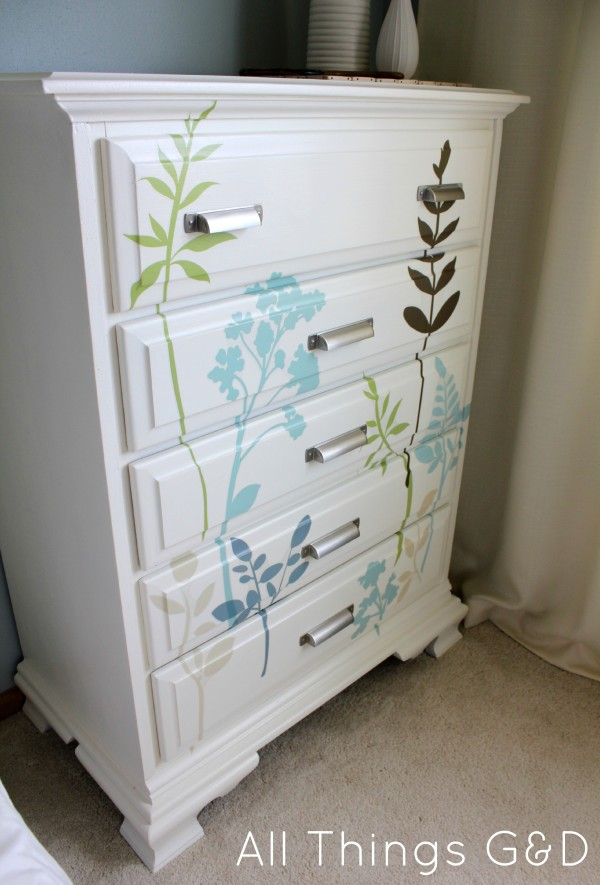 Looking for a cheap and easy way to update an old dresser?  Consider wall decals! www.allthingsgd.com