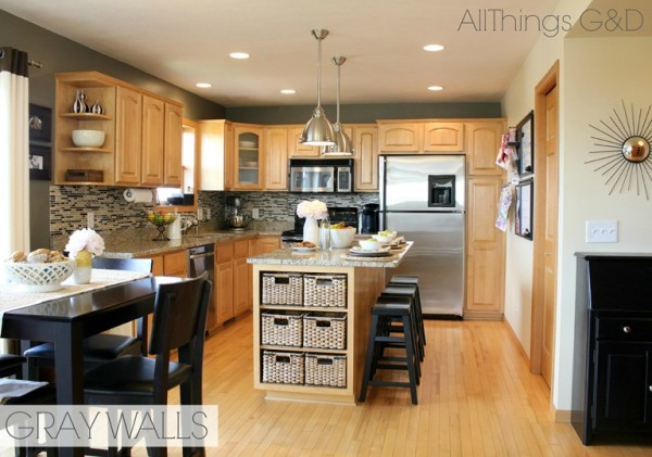 gray kitchen, Sherwin Williams Anonymous paint color, DIY tile backsplash, maple kitchen cabinets, stainless steel light pendants