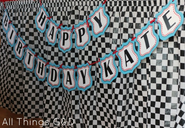 FREE Cars Birthday Party Printables - Cars Route 66 Happy Birthday Banner | www.allthingsgd.com