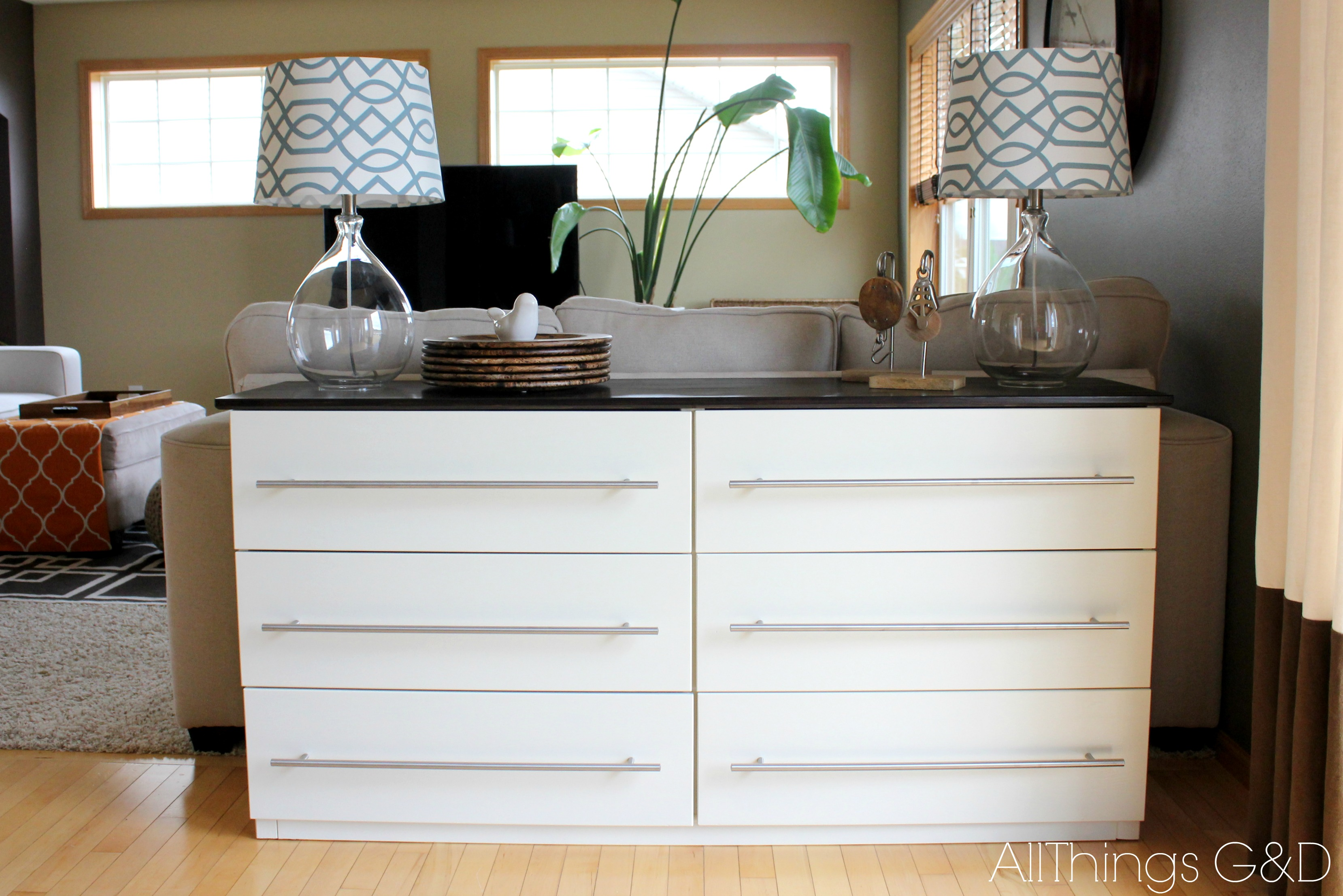 Ikea tarva transformed into a kitchen sideboard all for Ikea bedroom furniture dressers