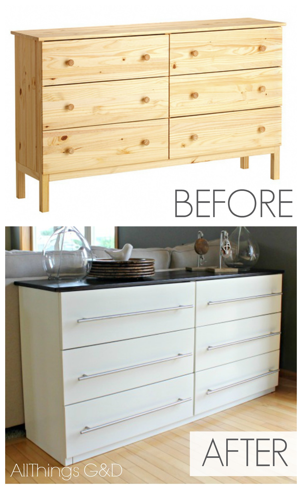 Ikea tarva transformed into a kitchen sideboard all for Bedroom dressers ikea