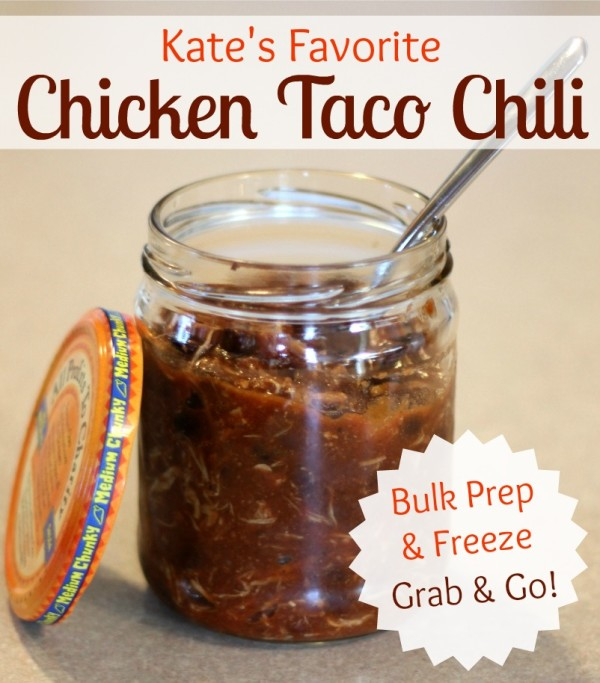 This 4 ingredient chicken taco chili is my daughter's favorite! It's a quick and easy, freezer-friendly slower cooker meal your whole family will enjoy. | www.allthingsgd.com