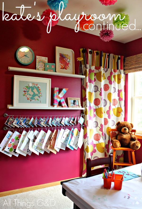 Personalized art & photo display in Kate's playroom. | www.allthingsgd.com