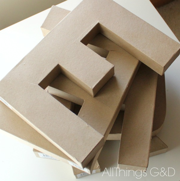 Inexpensive cardboard letters purchased at a craft store.