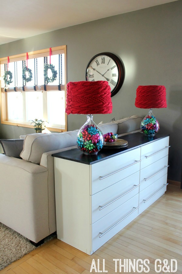 An easy, no-sew, DIY lampshade cover made using a scarf - no additional supplies necessary! | www.allthingsgd.com