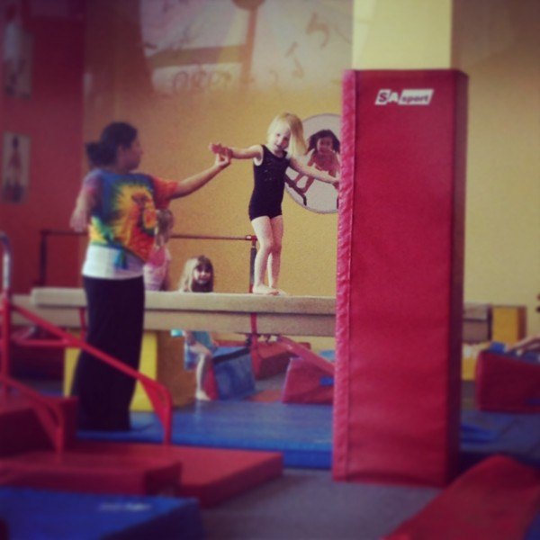 Kate's first gymnastics class.