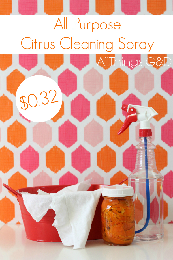 Make your own money-saving cleaning products. This all-purpose spray is safe and excellent for disinfecting kids' toys! | www.allthingsgd.com