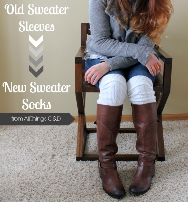 DIY cable-knit boot socks made from old sweater sleeves! | www.allthingsgd.com