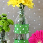 Two scraps of ribbon secured with double-stick tape are a quick and easy way to add some color to this tea jar.