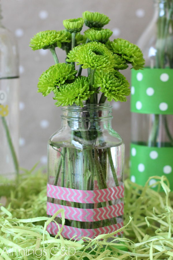 A few strips of washi tape around this former spice jar add some fun color and design. | www.allthingsgd.com