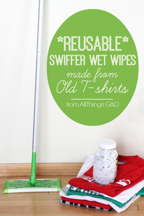 Reusable Swiffer Wet Wipes made from old t-shirts. | www.allthingsgd.com