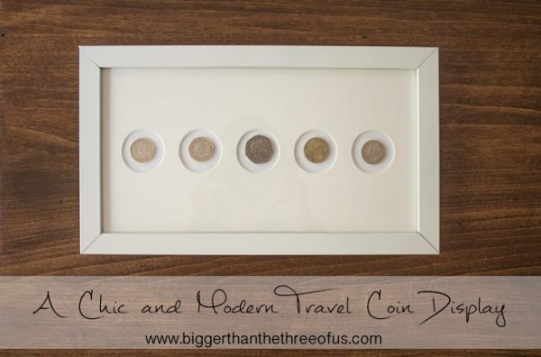 Repurposed Travel Coin Display by Ashley from Bigger Than the Three of Us