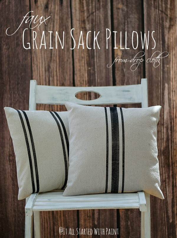 Faux Grain Sack Pillows by Linda from It All Started with Paint