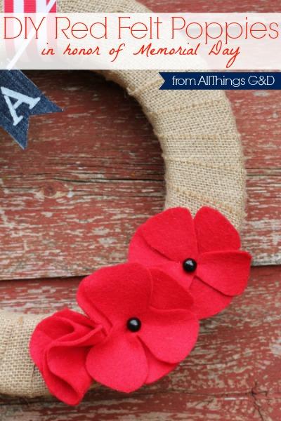 DIY Red Felt Poppies in honor of Memorial Day. | www.allthingsgd.com