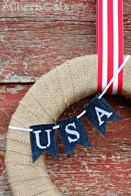 Patriotic Painted Denim Mini-Bunting Tutorial | www.alllthingsgd.com