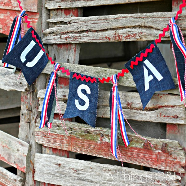 Patriotic Painted Denim Bunting made from an old pair of blue jeans.   www.allthingsgd.com