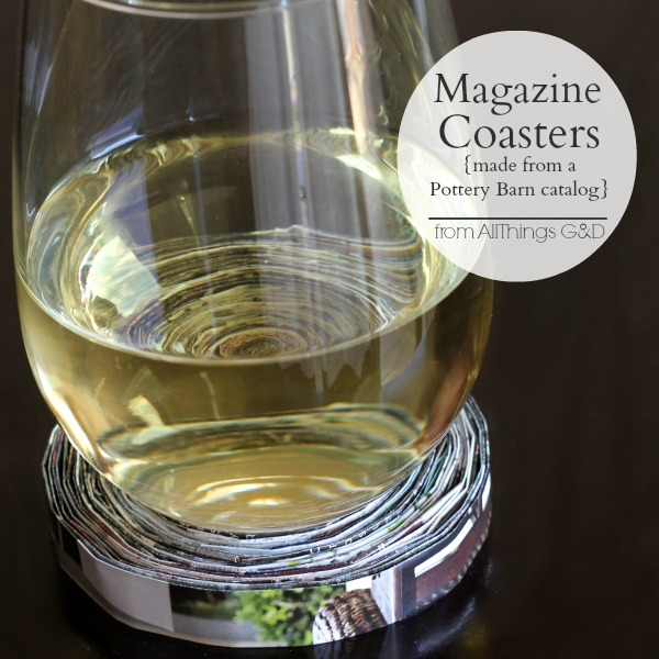 DIY Magazine Coasters made from a Pottery Barn catalog - makes a great housewarming gift! | www.allthingsgd.com