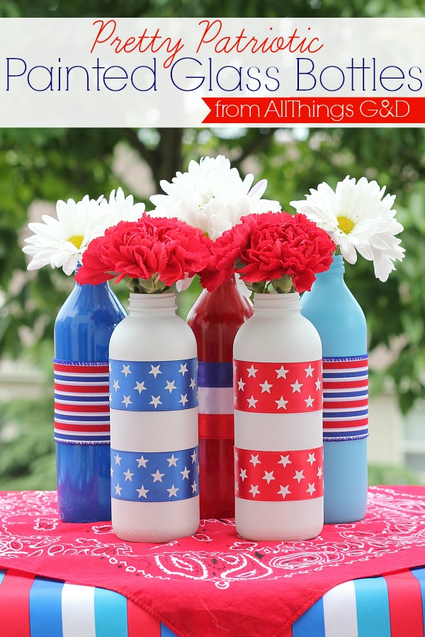 Pretty Patriotic Painted Glass Bottles | www.allthingsgd.com