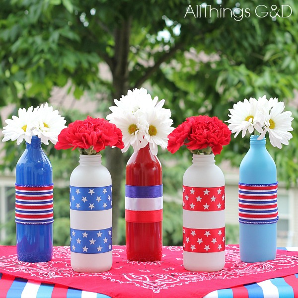 Patriotic Painted Glass Bottles | www.allthingsgd.com