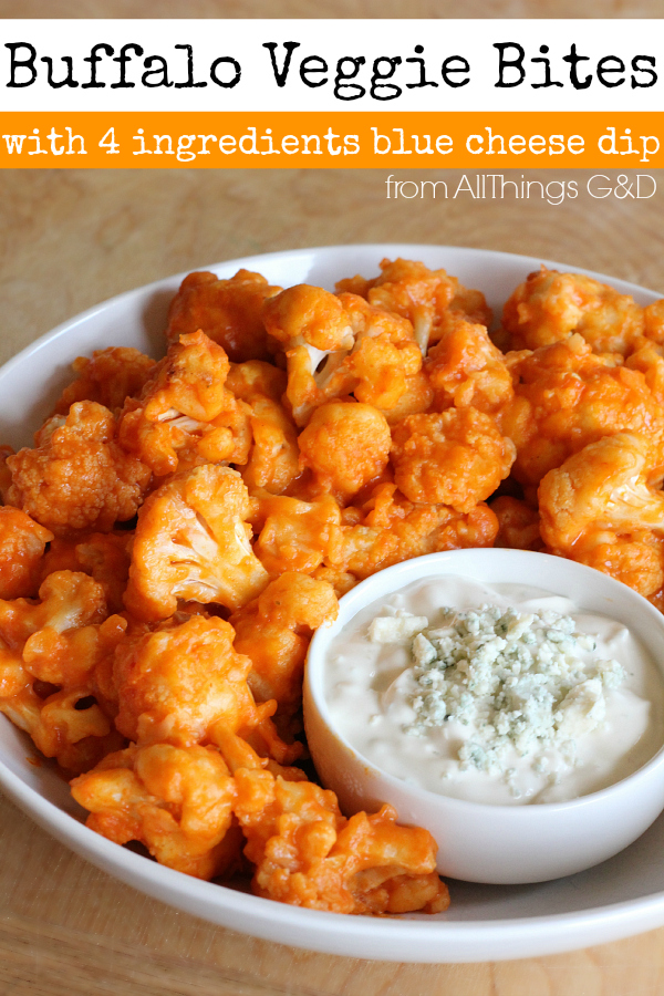 Buffalo Veggie Bites with 4 Ingredient Blue Cheese Dip - a healthy, #LITEhack recipe alternative. | www.allthingsgd.com