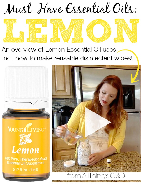An overview of Lemon Essential Oil uses, including how to make Homemade Reusable Disinfectant Wipes! | www.allthingsgd.com