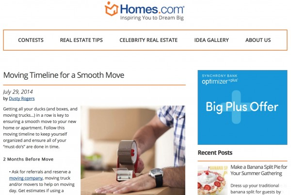Homes.com Moving Timeline from All Things G&D