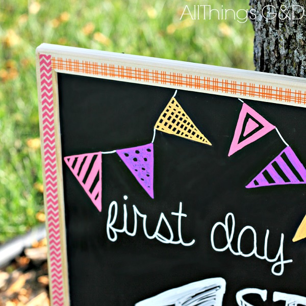 DIY decorative chalkboard framed in washi tape. | www.allthingsgd.com