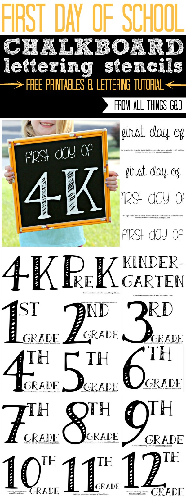 Free first day of school chalkboard sign lettering templates for preschool through high school! #BTS #chalkboardlettering #chalkboardtemplate #chalkboardsign #firstdayofschool #firstdayofschoolsign #firstdayofschoolchalkboardsign