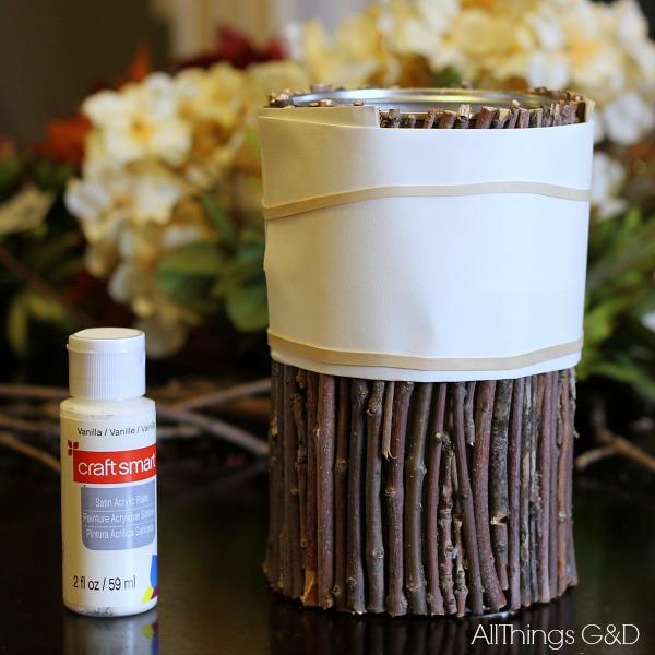 DIY Painted Twig Vase tutorial. Celebrate fall by bringing a little nature indoors! | www.allthingsgd.com  #fall #fallcrafts #falldecor #repurpose #diy