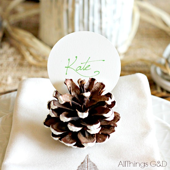 Fall Wedding Card Holder Ideas: Painted Pinecone Place Card Holders