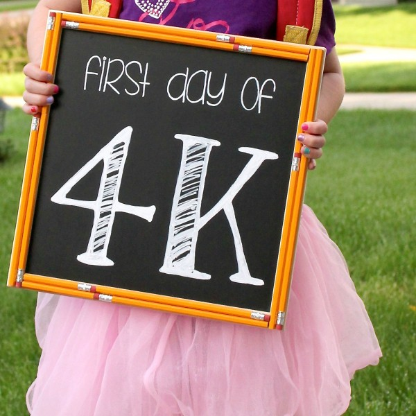 "Free ""First Day of School"" chalkboard lettering stencils and chalkboard lettering tutorial. 