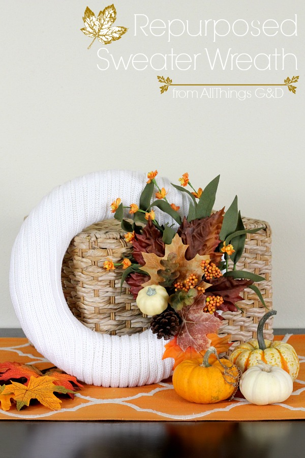 Save your old, ripped or stained cable knit sweaters from the trash or donate pile and turn them into a fall sweater wreath! | www.allthingsgd.com