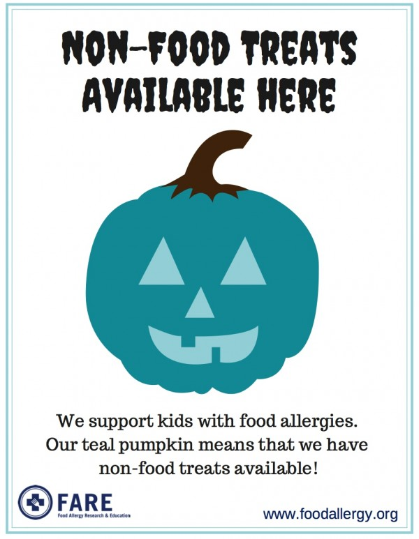 Click on picture for your downloadable, printable Teal Pumpkin Project sign.