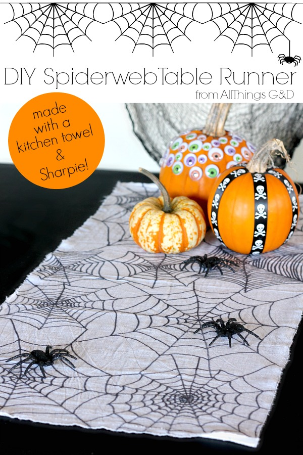 DIY Spiderweb Halloween Table Runner made with just a kitchen towel and Sharpie marker! | www.allthingsgd.com
