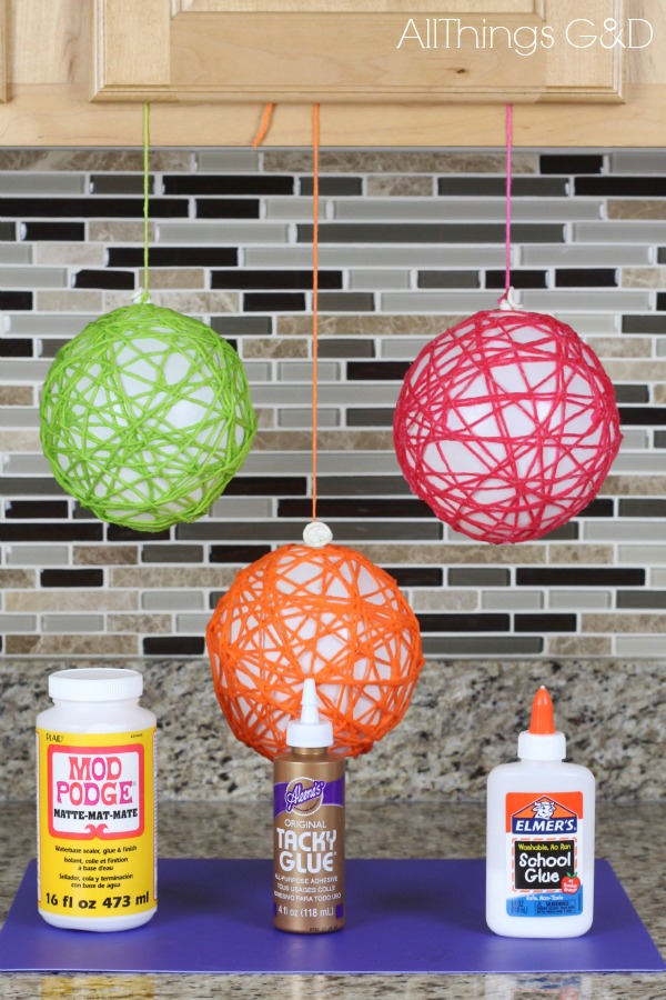 Yarn ball ornaments all things g d for Stuff to make with string