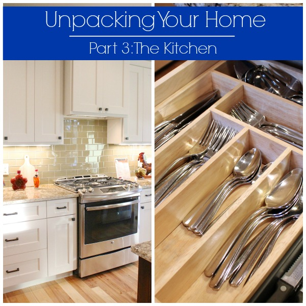 Tips for unpacking and organizing your kitchen, broken down by kitchen work zone and layout. | www.allthingsgd.com