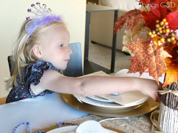 A fall tablescape decorated through the eyes of a glitter and sparkle-loving four-year-old. | www.allthingsgd.com