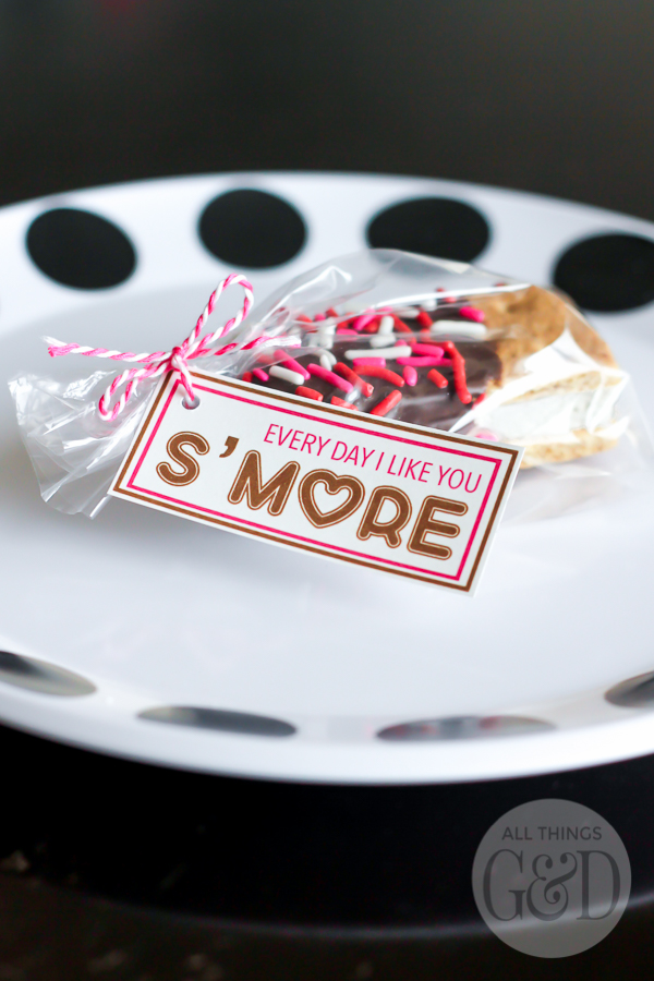 """Every Day I Like You S'more"" valentine and free printable from All Things G&D. 