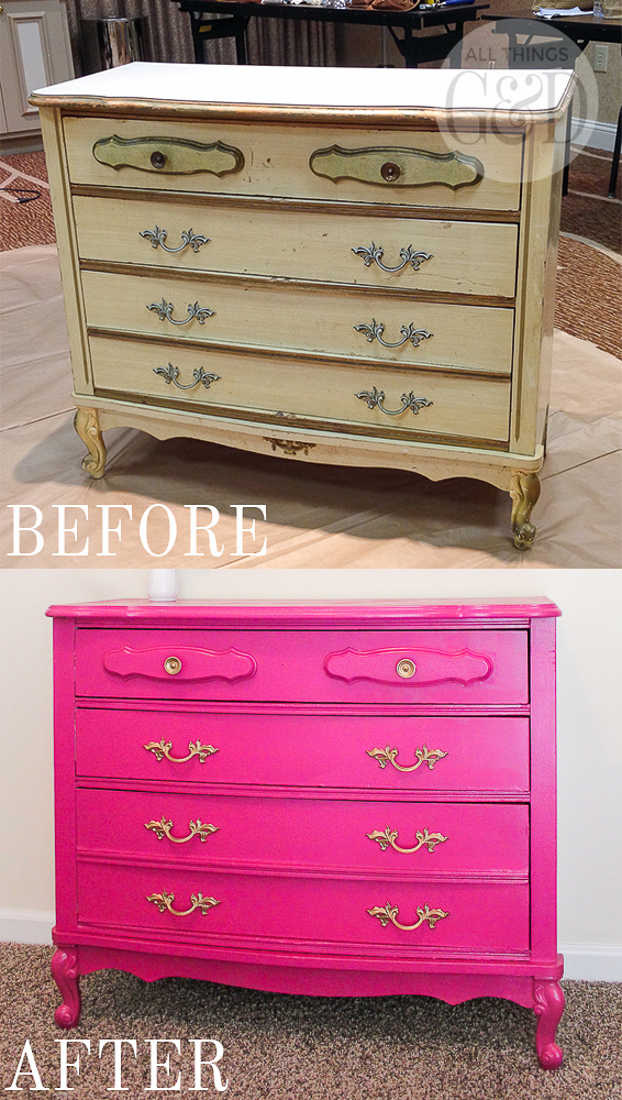 A colorful and playful girl's room created by Dusty Rogers of All Things G&D as part of GMC's 2015 Hidden Treasure Adventure. With a budget of just $285, she furnished and decorated the room with items found along the World's Longest Yard Sale. This $30 dresser was given new life with some glossy magenta paint and hardware spray painted gold. #GMCHTA #HabitatforHumanity