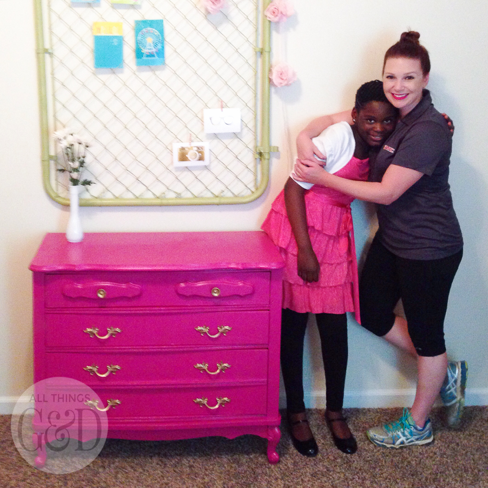 A colorful and playful girl's room created by Dusty Rogers of All Things G&D as part of GMC's 2015 Hidden Treasure Adventure. With a budget of just $285, she furnished and decorated the room with items found along the World's Longest Yard Sale. #GMCHTA #HabitatforHumanity