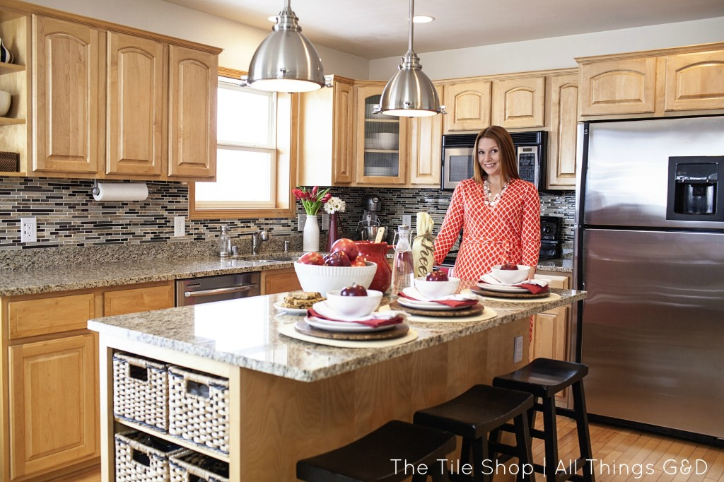 A builder basic kitchen transformation with The Tile Shop and All Things G&D.
