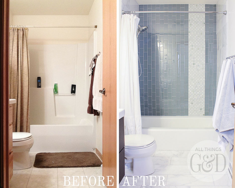 A bathroom makeover by All Things G&D featuring tile from The Tile Shop and kid friendly bathroom fixtures from Delta Faucet. #thetileshop #deltafaucet #DeltaLiving