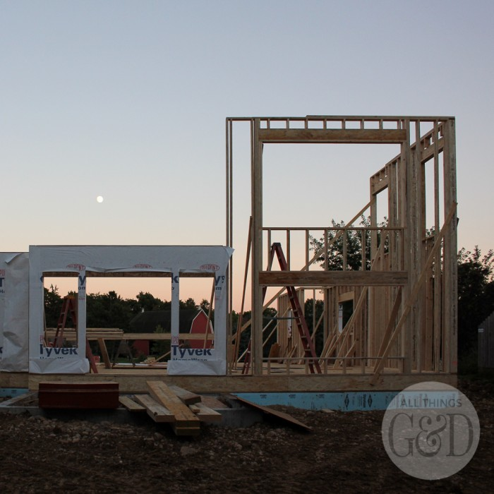 "First floor framing for the ""All Things G&D Dream Home"" being built in Cambridge, Wisconsin by Classic Custom Homes of Waunakee. #ATGDdreamhome"